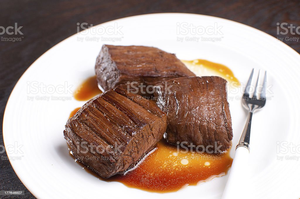 Pieces of beef flank steak royalty-free stock photo