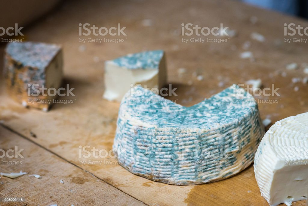pieces of blue cheese mold stock photo