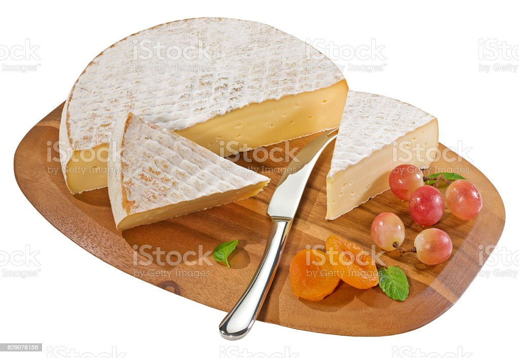 Pieces of brie stock photo