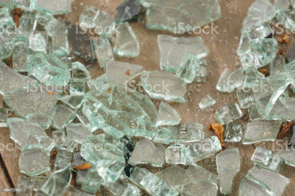 Pieces of broken glass stock photo