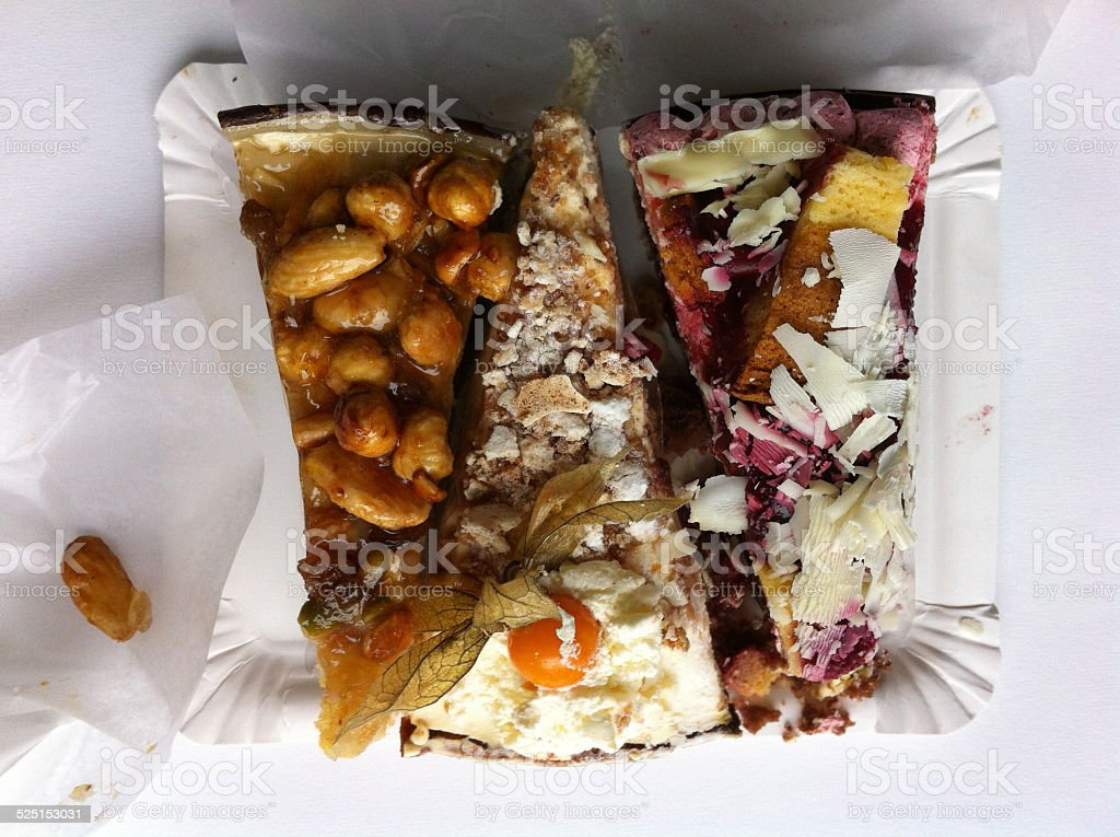 Pieces of Cake unwrapped stock photo