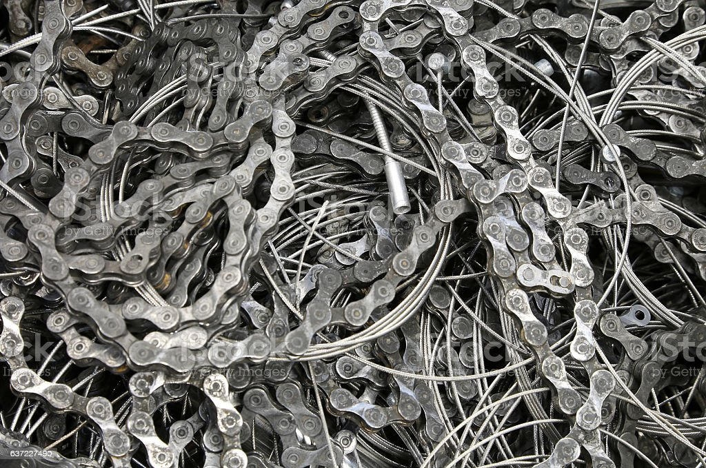 pieces of chains and wires of bicycle brakes stock photo