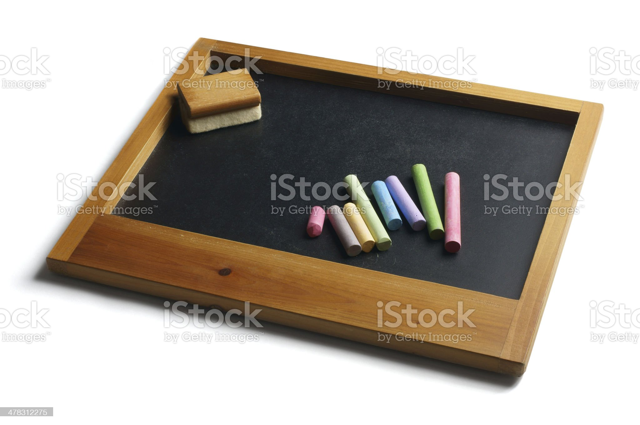 Pieces of Chalk and Duster on Slate royalty-free stock photo