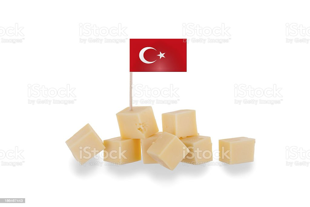 Pieces of cheese isolated on a white background royalty-free stock photo