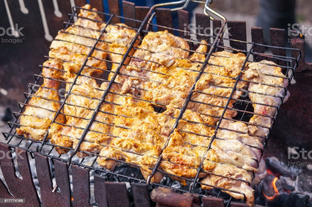 Pieces of chicken meat, roasted on the grill. stock photo