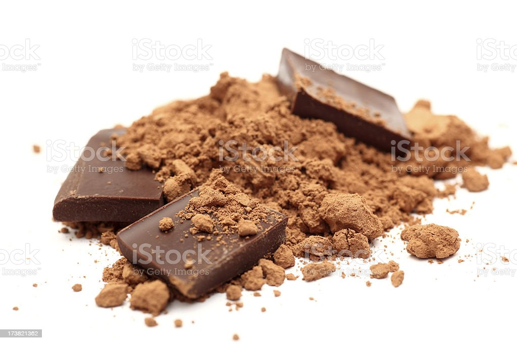 Pieces of chocolate in cocoa powder stock photo