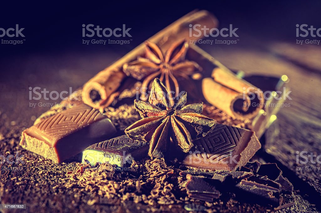 pieces of chocolate stock photo