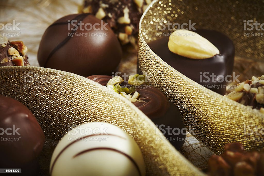 Pieces of chocolate  with decoration royalty-free stock photo