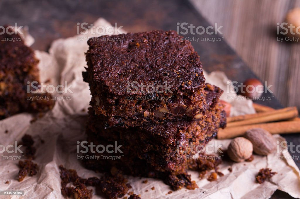 Pieces of Christmas chocolate cake stock photo