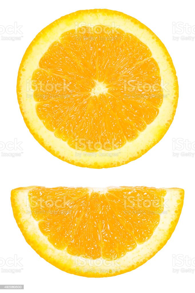 Pieces of circle and half sliced orange isolated on white stock photo