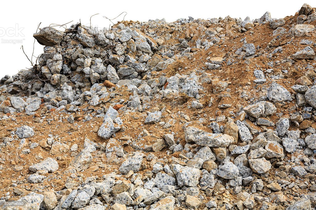 Pieces of concrete and brick rubble debris on construction site stock photo