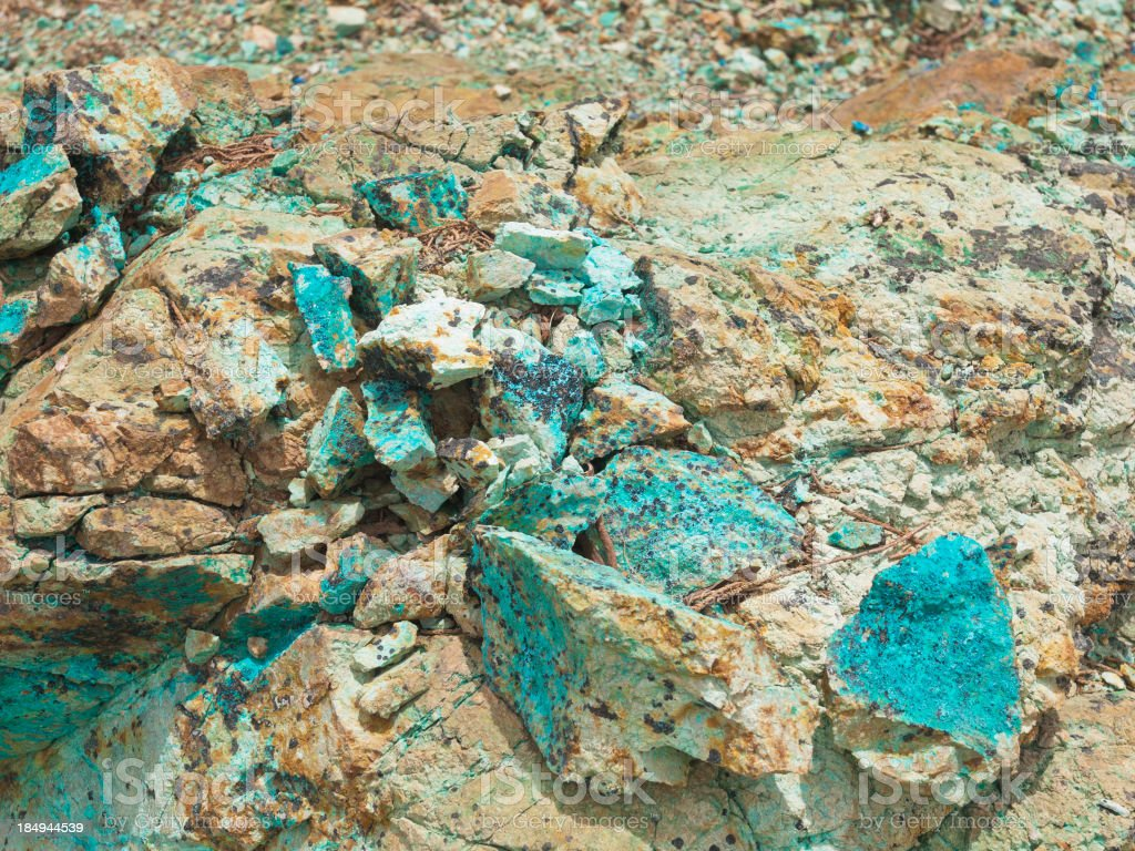 Pieces of Copper Rocks and Minerals stock photo