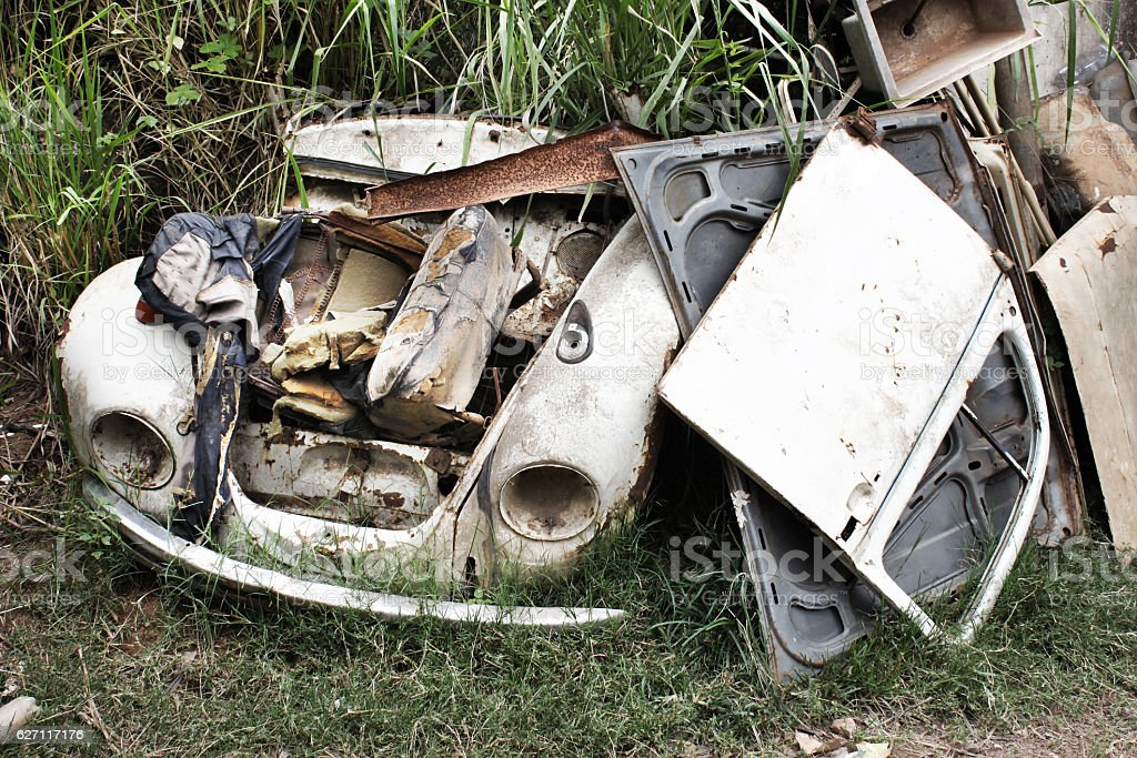 Pieces of crashed car stock photo