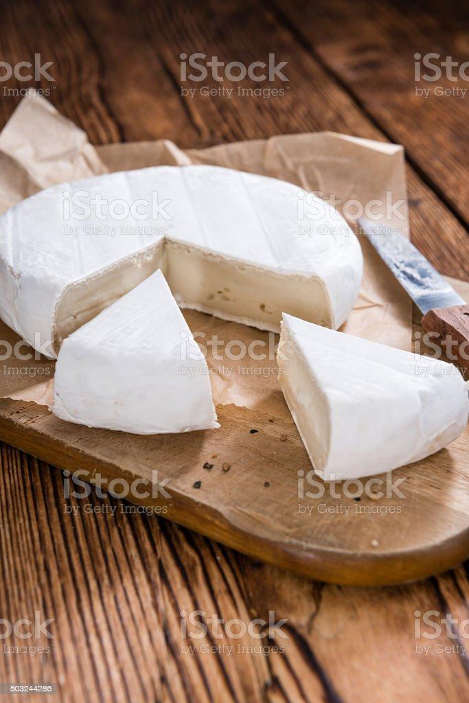 Pieces of creamy Camembert stock photo