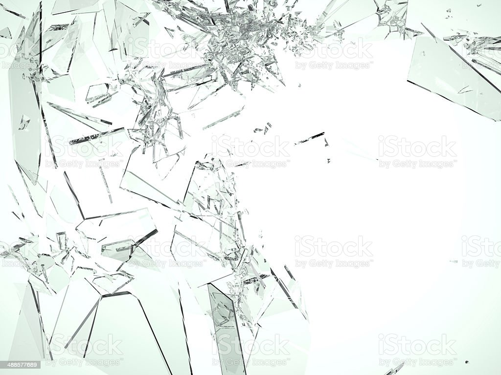 Pieces of demolished or Shattered glass on white stock photo