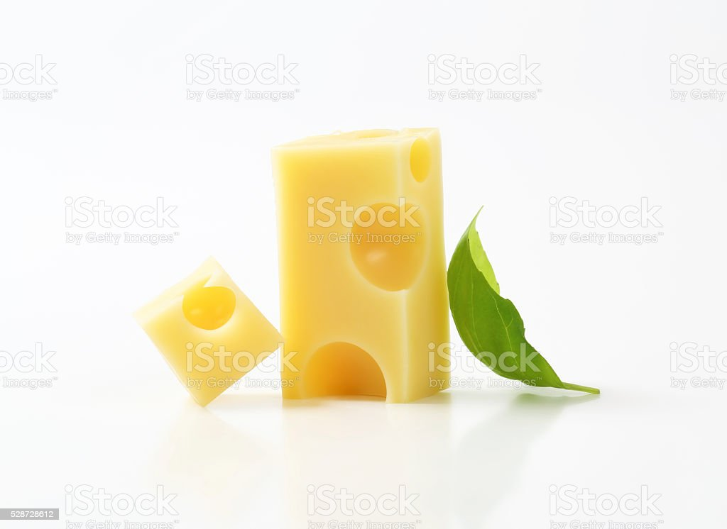 pieces of emmental cheese stock photo