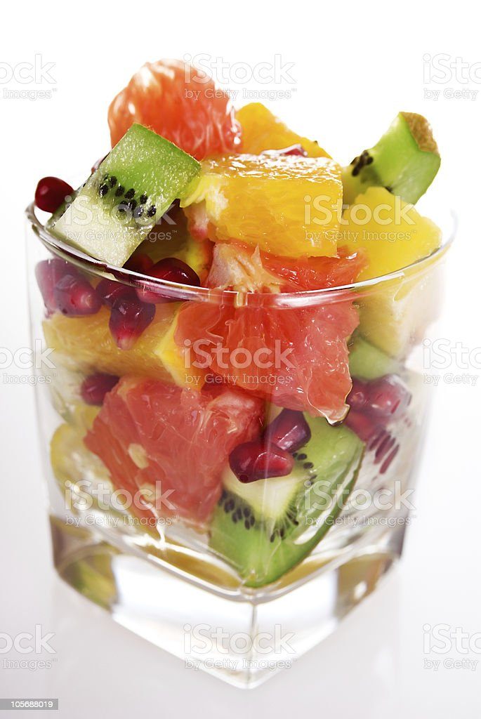 pieces of fresh fruits in glass royalty-free stock photo