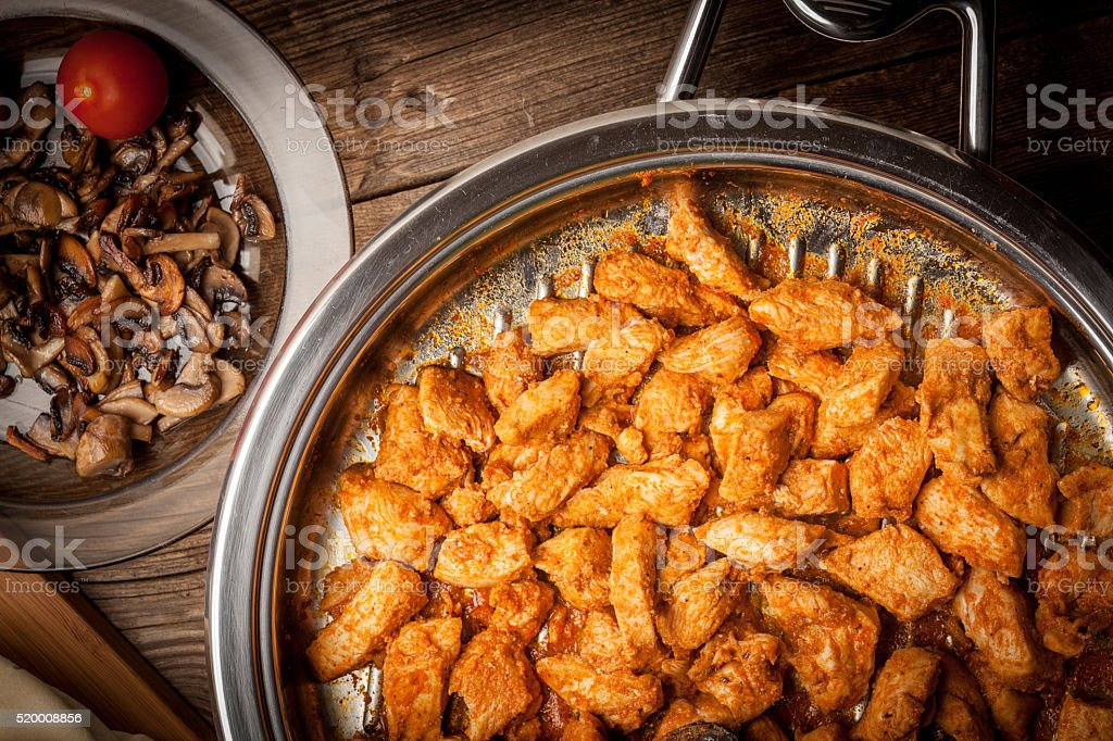 Pieces of fried chicken. stock photo
