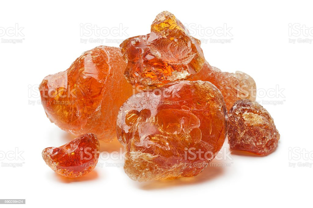 Pieces of Gum arabic stock photo