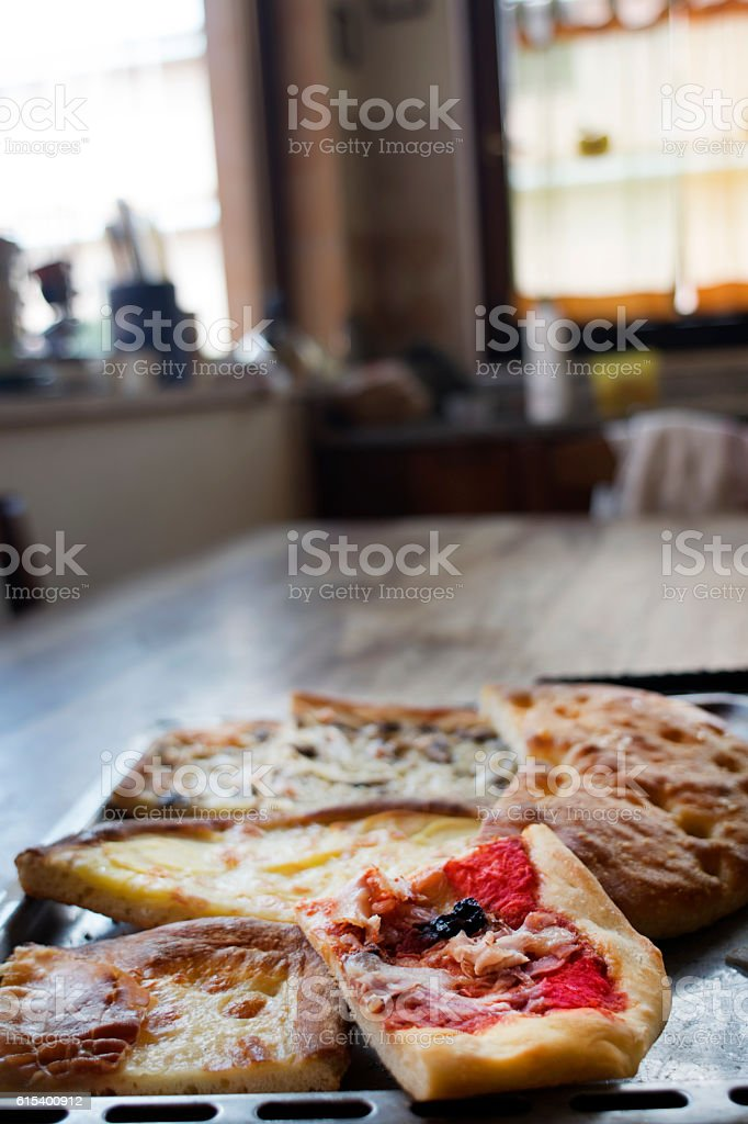 pieces of homemade pizza stock photo