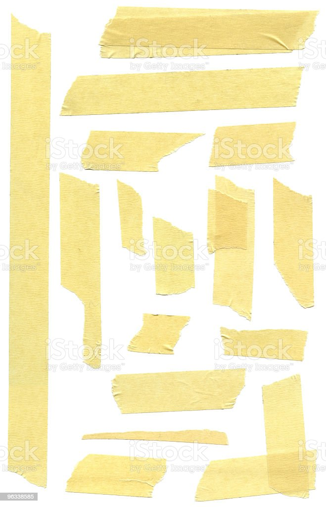 Pieces of masking tape on white royalty-free stock photo