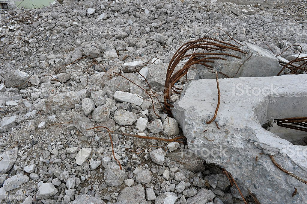 Pieces of Metal and Stone are Crumbling stock photo