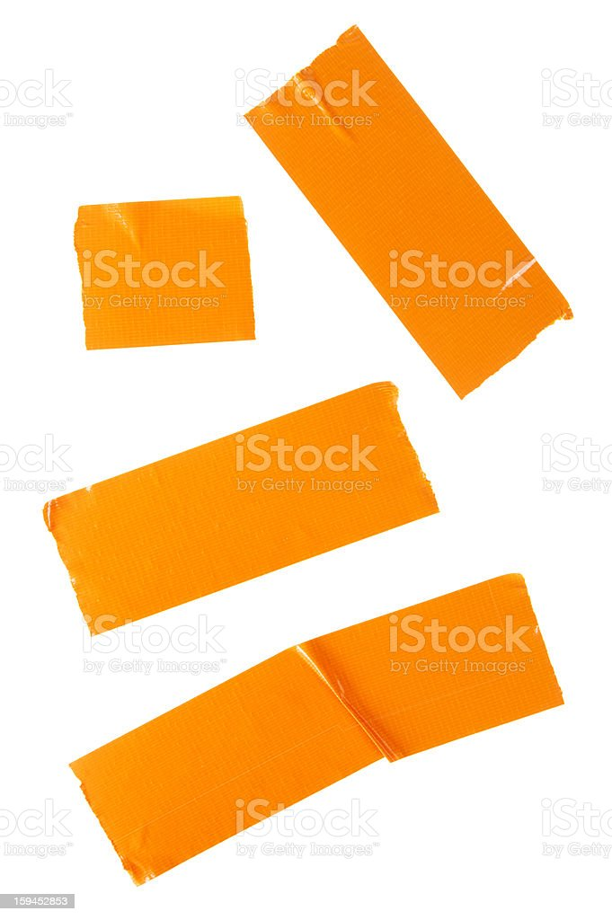 Pieces Of Orange Duct Tape Isolated On White stock photo