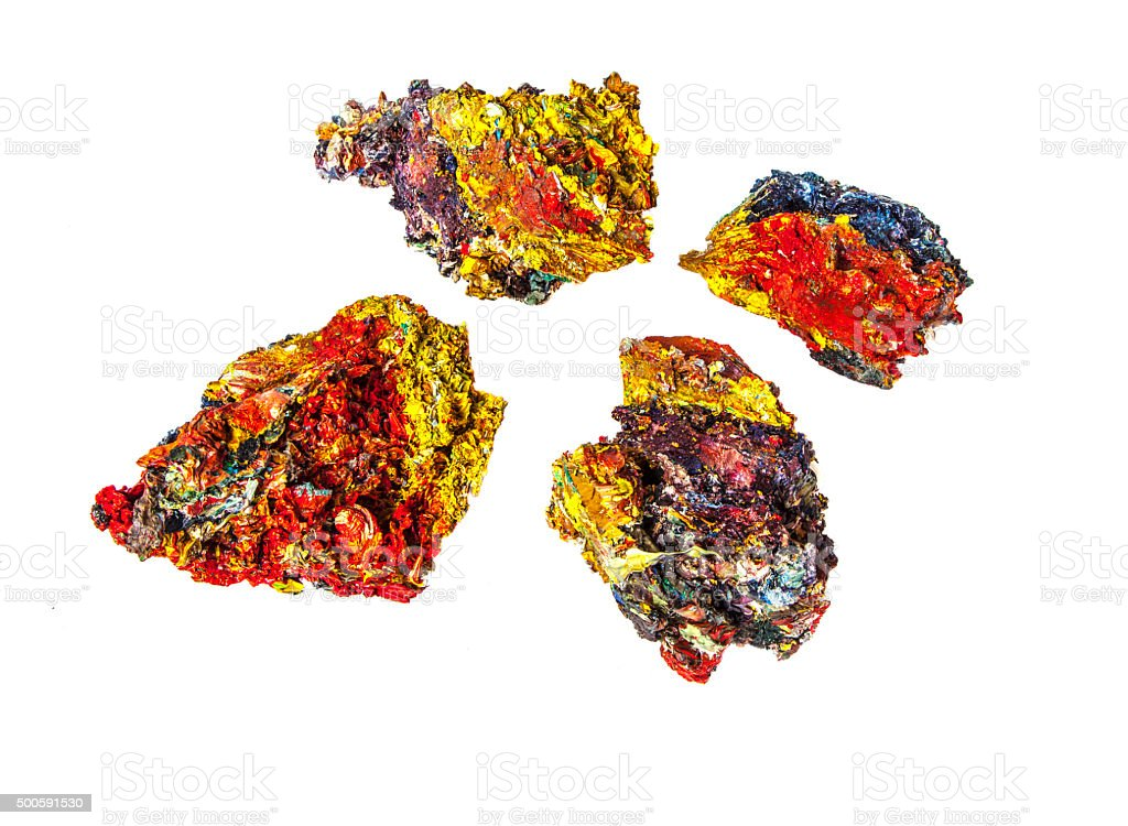 Pieces of painter's  palette  with mixture of different colors. stock photo