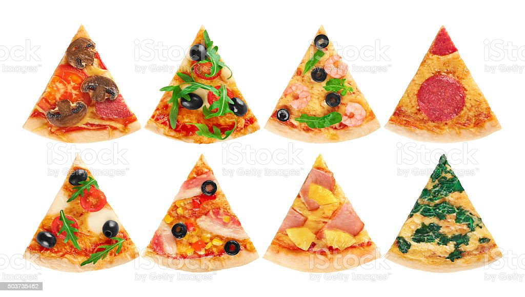 Pieces of pizza on a white background. Collection. stock photo