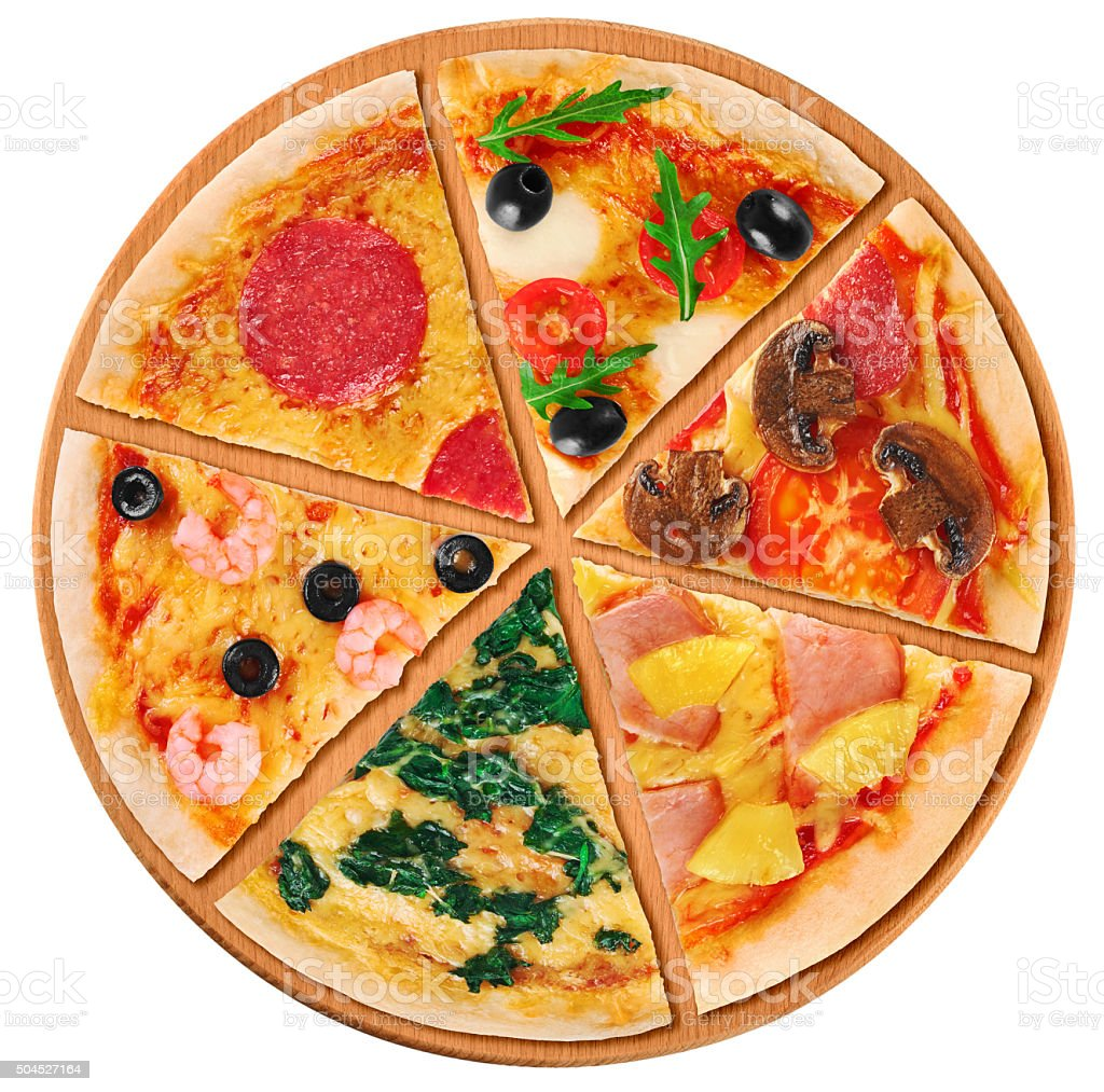 Pieces of pizza on a white background. stock photo