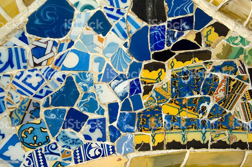 Pieces of pottery put into a Gaudi piece  royalty-free stock photo