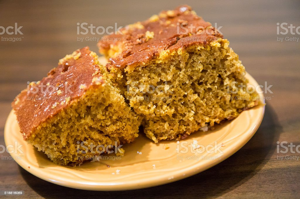 Pieces of Pumpkin Bread on Plate stock photo