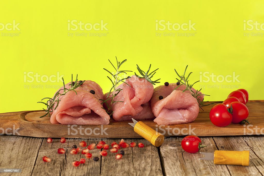 Pieces Of Raw Turkey Meat royalty-free stock photo