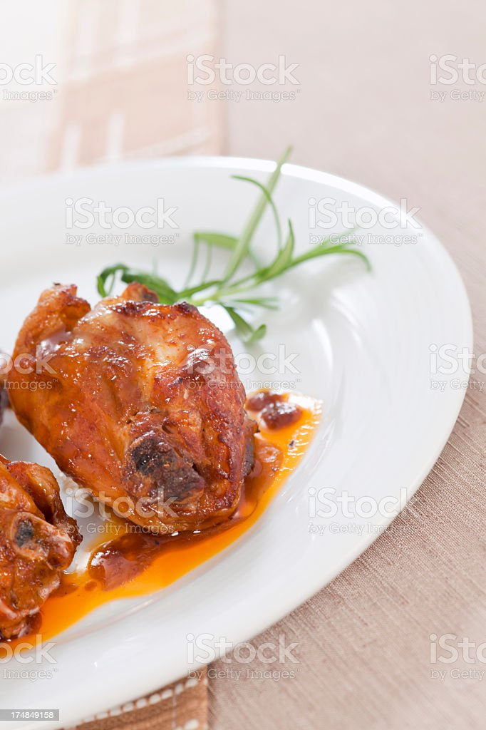 Pieces of roasted chicken royalty-free stock photo