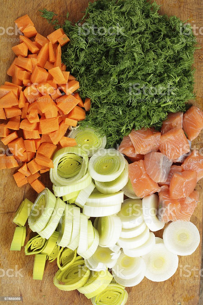 Pieces of salmon and vegetables royalty-free stock photo