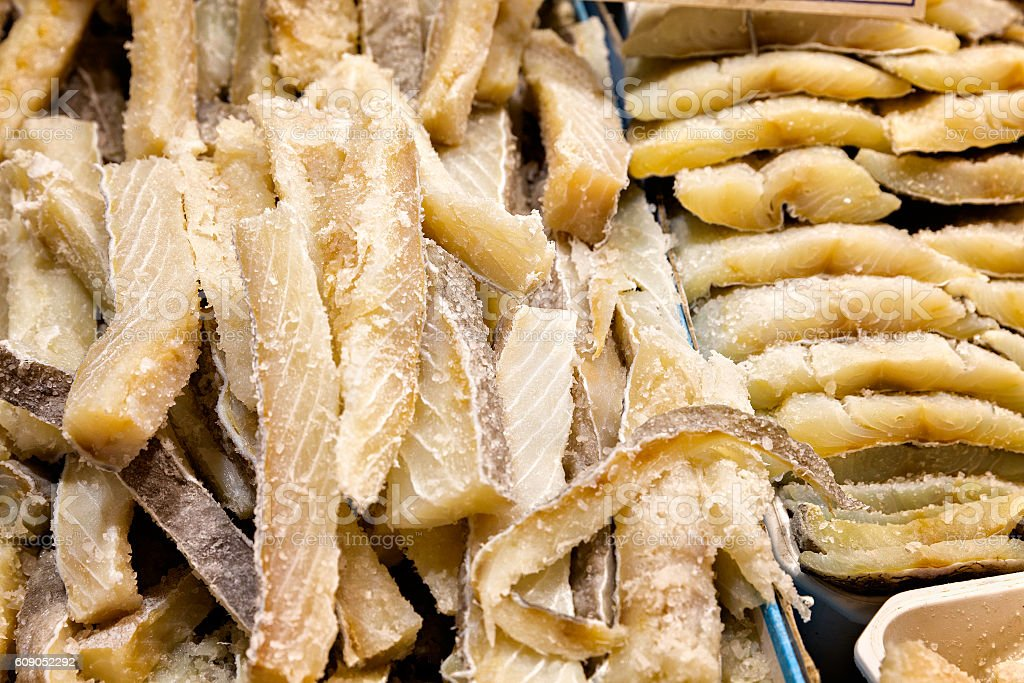 Pieces of salt cod for sale in a market stock photo