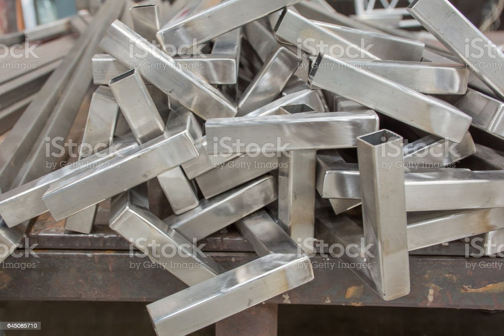 A pieces of  Stainless steel  gate fence stock photo