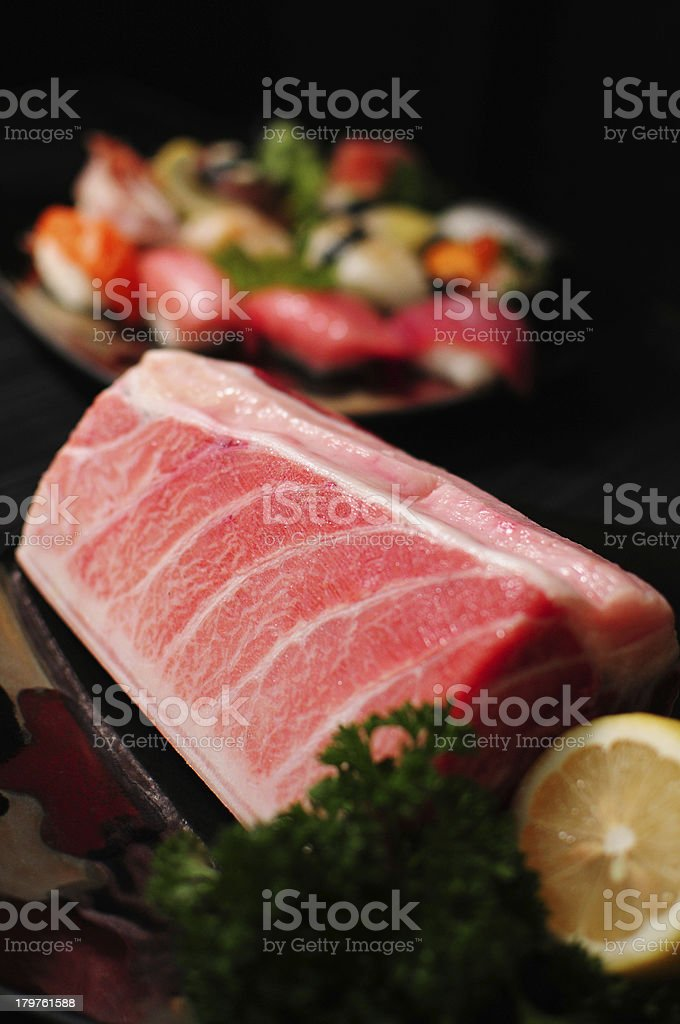 pieces of tuna fish and sushi royalty-free stock photo