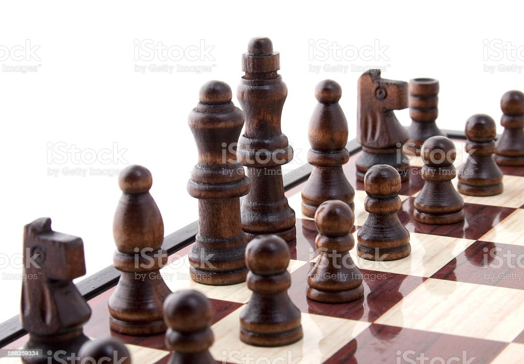 pieces on chess board stock photo