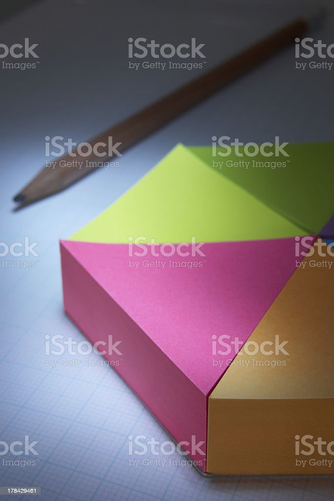 3D pie-chart and pencil royalty-free stock photo
