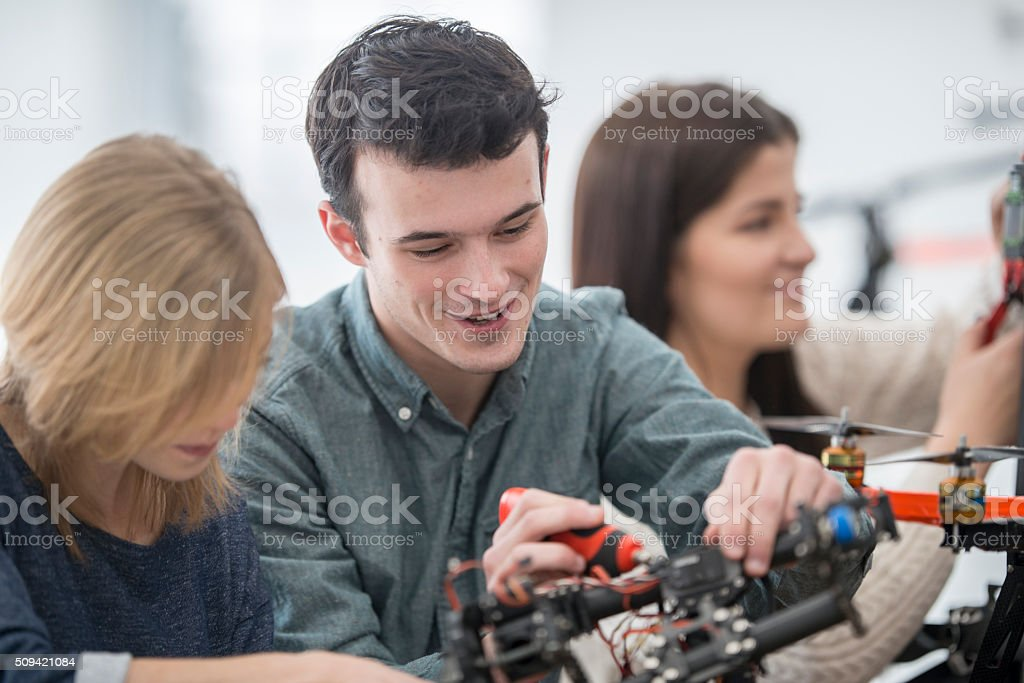 Piecing Together a Drone stock photo