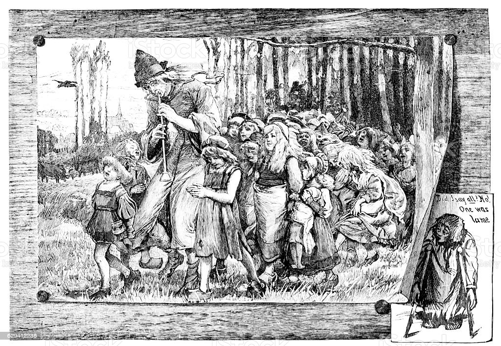 Pied Piper of Hamelin Leads Children Away stock photo