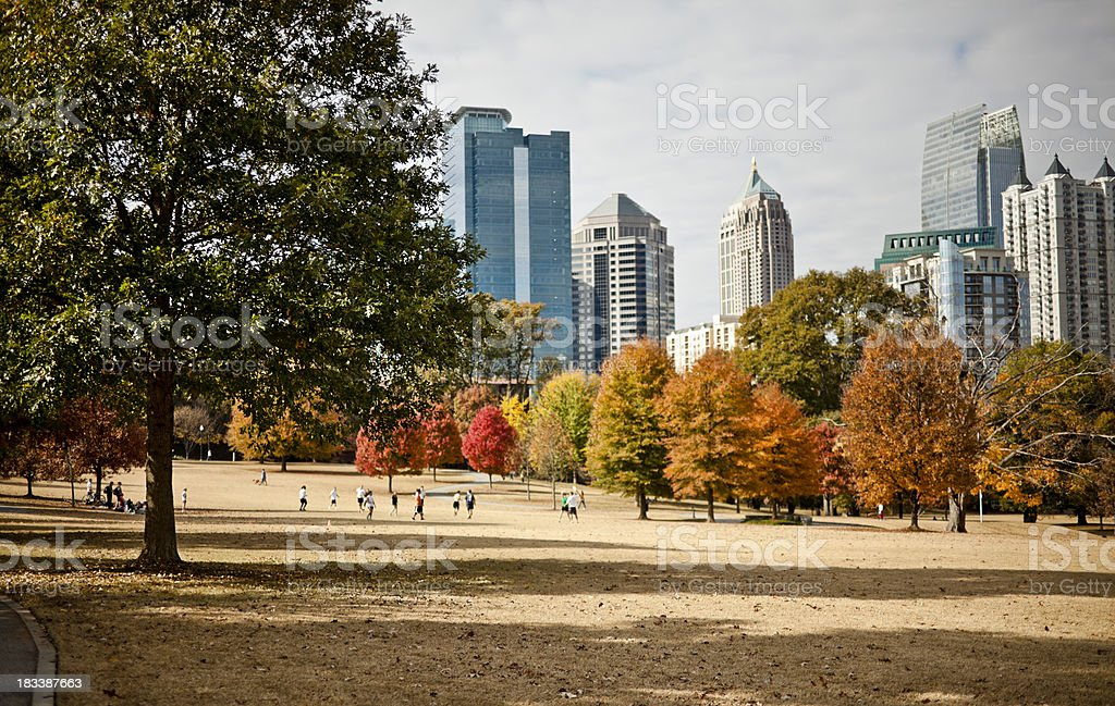 Piedmont Park in the fall stock photo