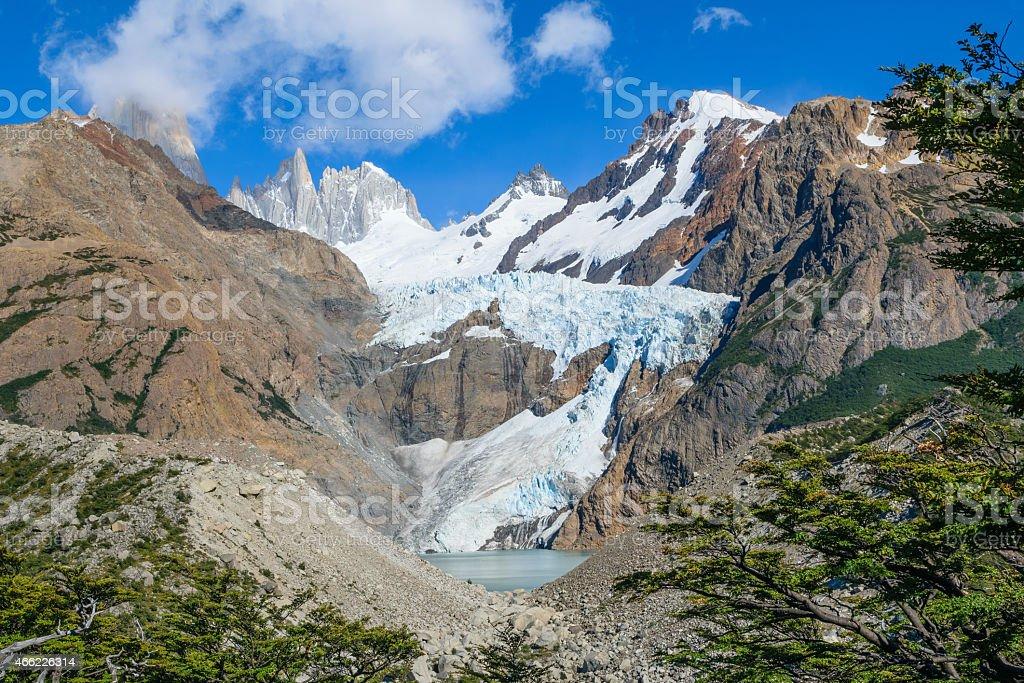 Piedras Blancas Glacier in Patagonia Argentina stock photo