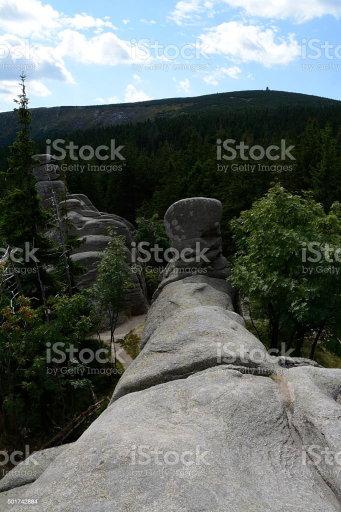 Pielgrzymy rocks in Karkonosze mountains stock photo