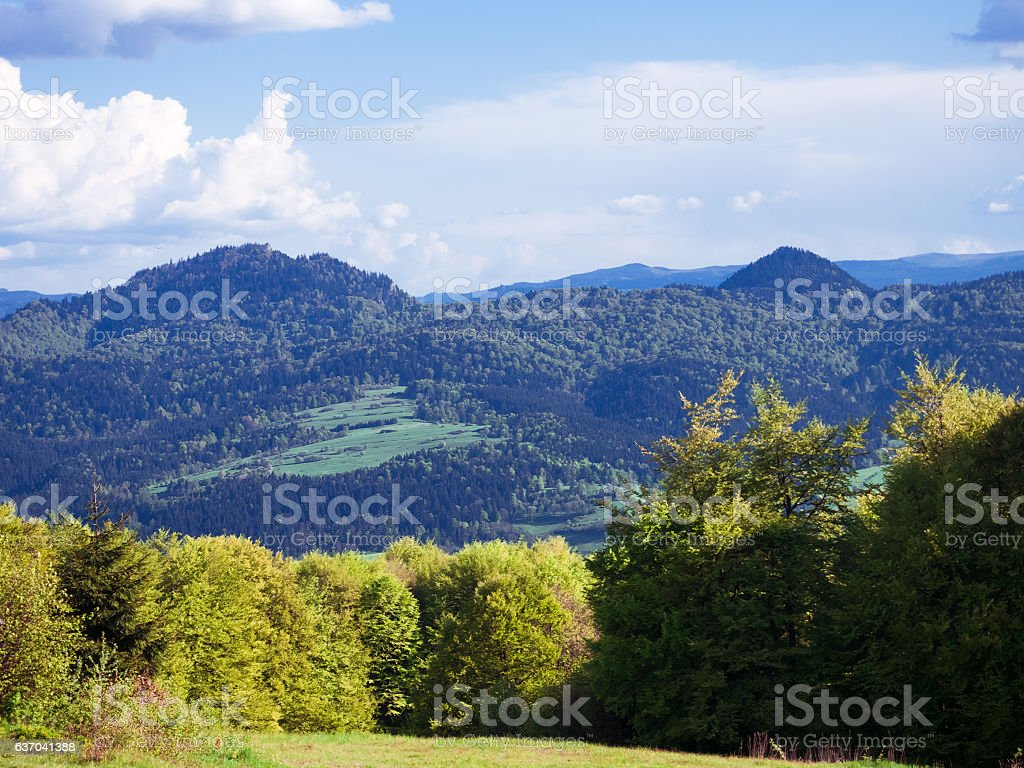 Pieniny and Three Crowns from Gorce mountains stock photo
