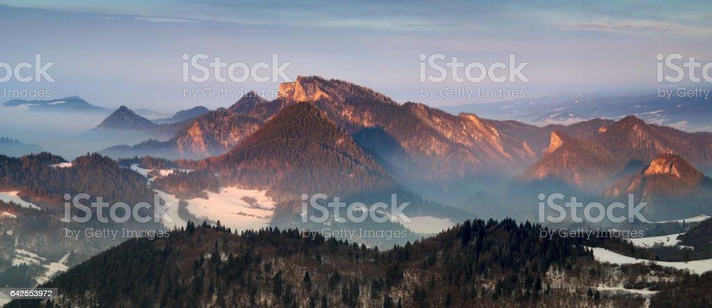 Pieniny morning panorama stock photo