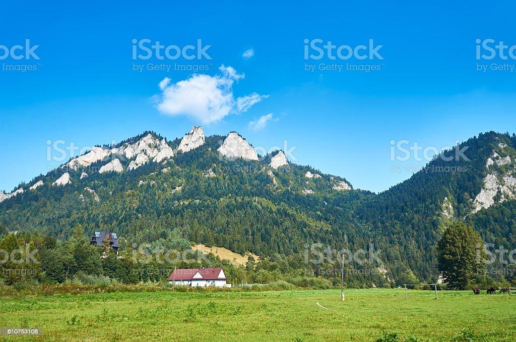 Pieniny National Park, Poland. Trzy Korony - English: Three Crowns stock photo