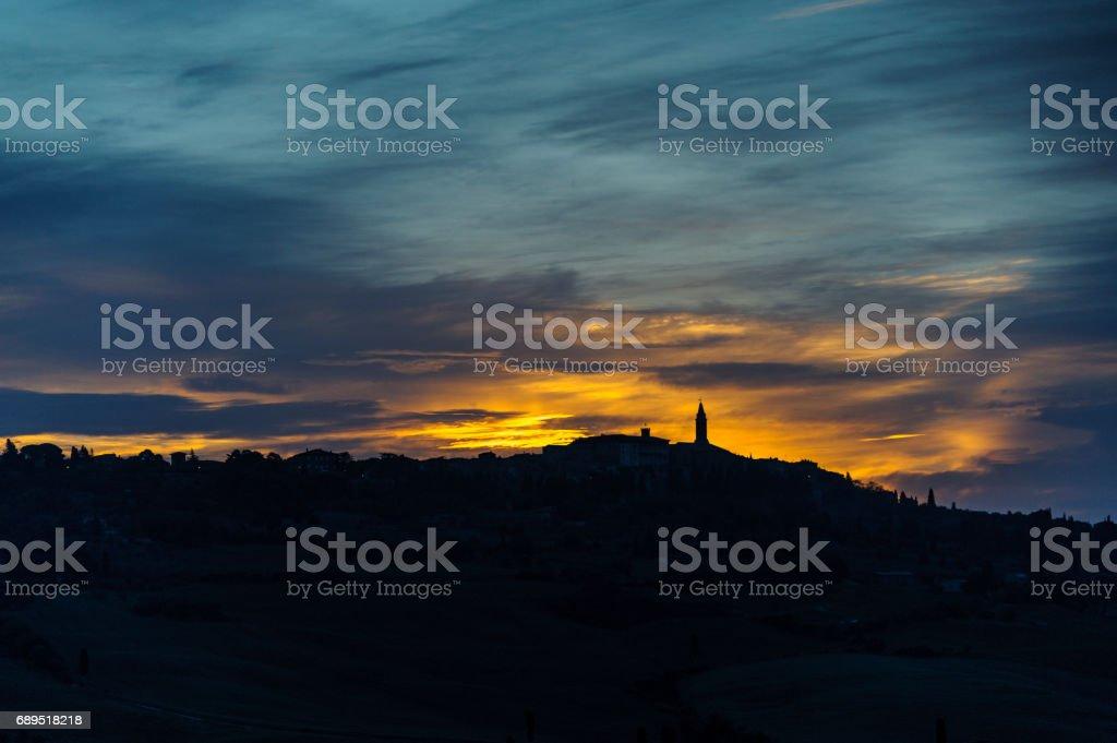 Pienza as sun rises stock photo