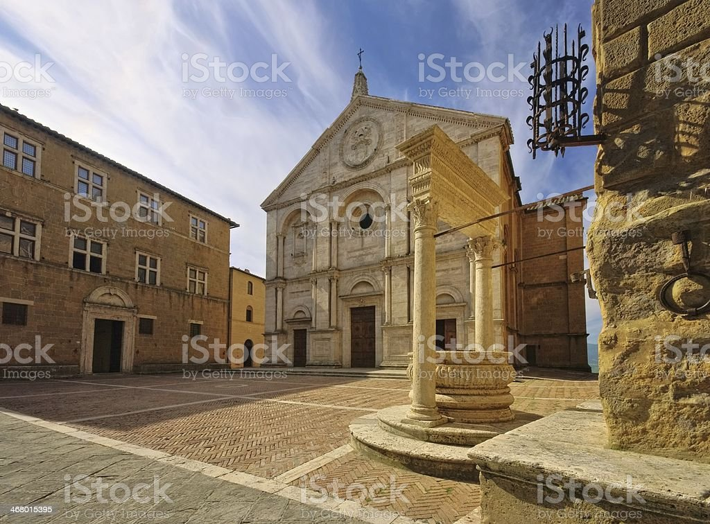 Pienza cathedral stock photo